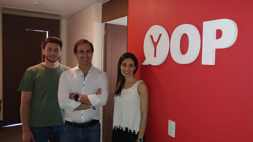 Tomas Mindlin, partner; Federico Giesenow, managing partner; y Mariana Tofalo, country manager, de YopDev