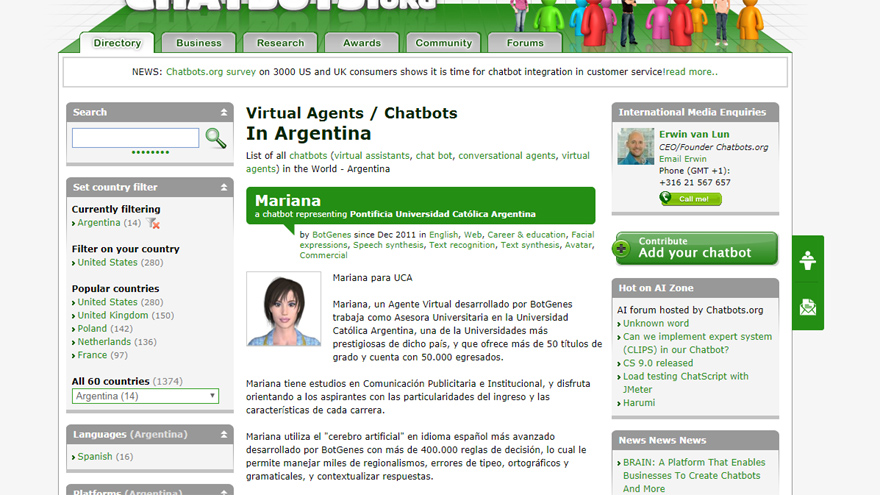 Captura de Chatbot.org