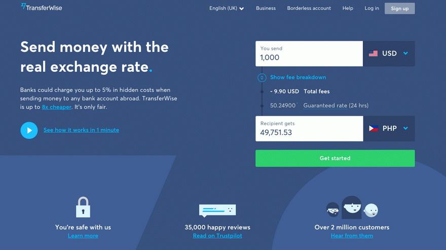 Detalle de la plataforma de Transferwise