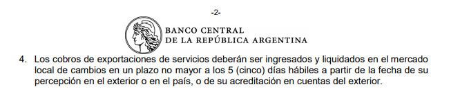 Extracto de la resolución del BCRA