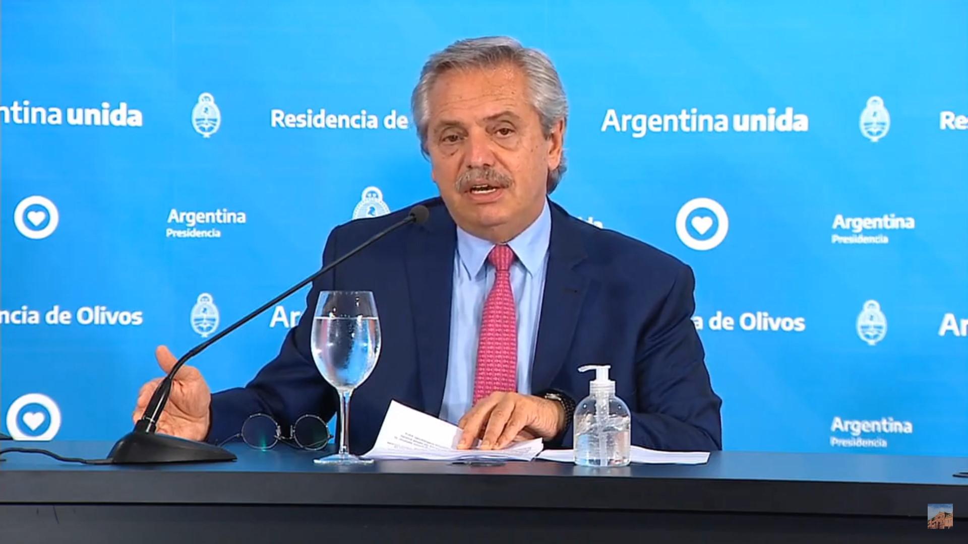 El presidente Alberto Fernandez en conferencia de prensa