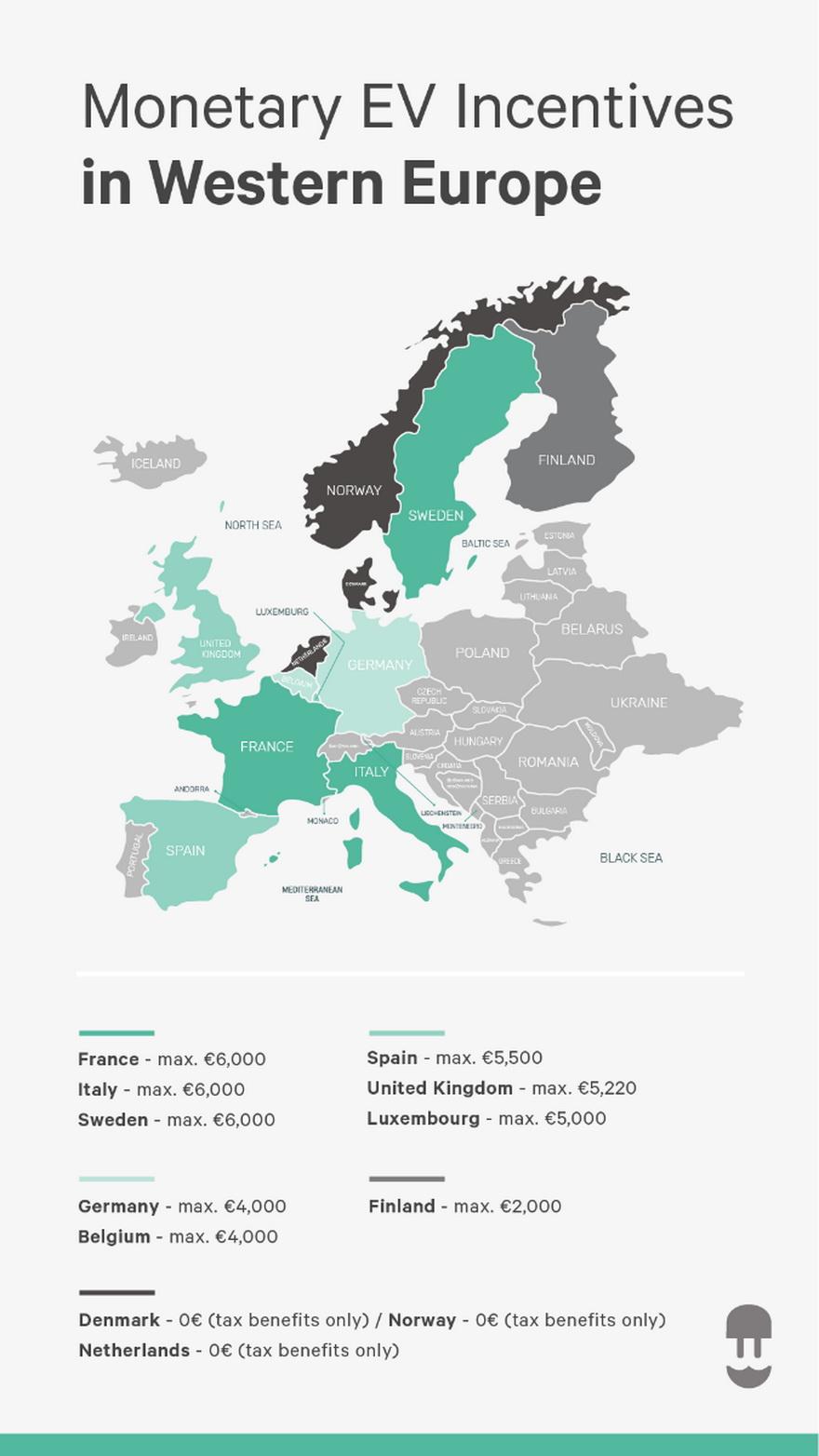 Mapa de los incentivos actuales al coche eléctrico. Fuente: Wallbox