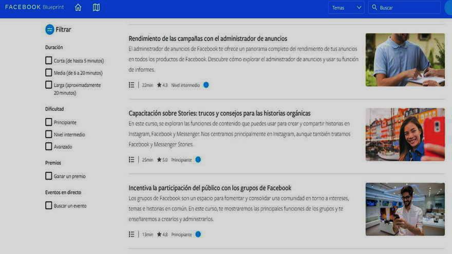 Los contenidos de Facebook se comparen vía su plataforma Blueprint