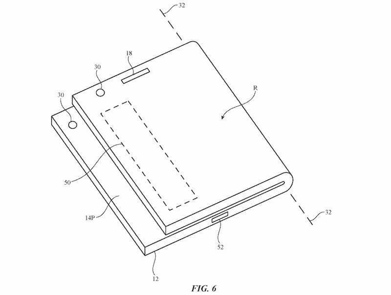 Dibujo de la patente del iPhone con tapita