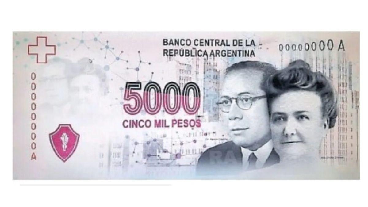 Diseño del billete de 5.000 que se descartó