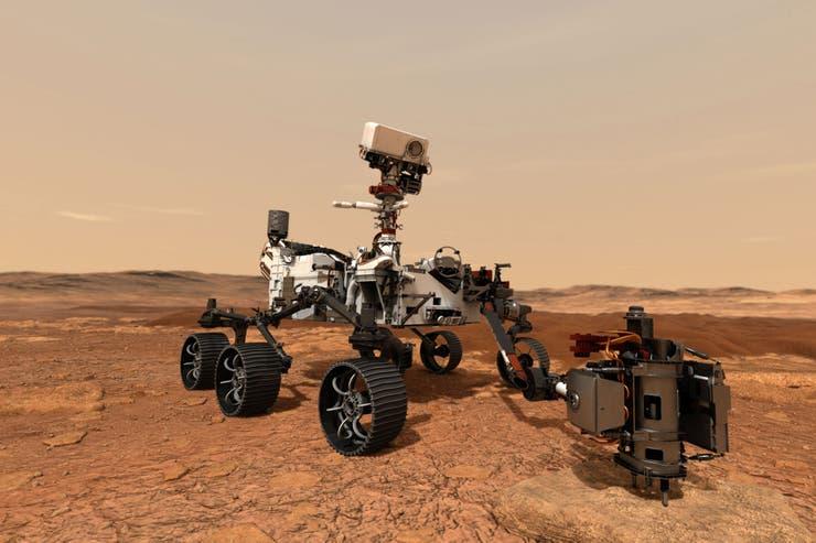 Simulación del Rover Perseverance una vez que llegue a Marte