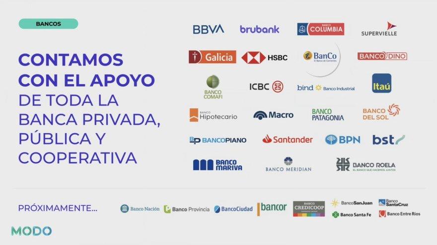 Bancos participantes en MODO