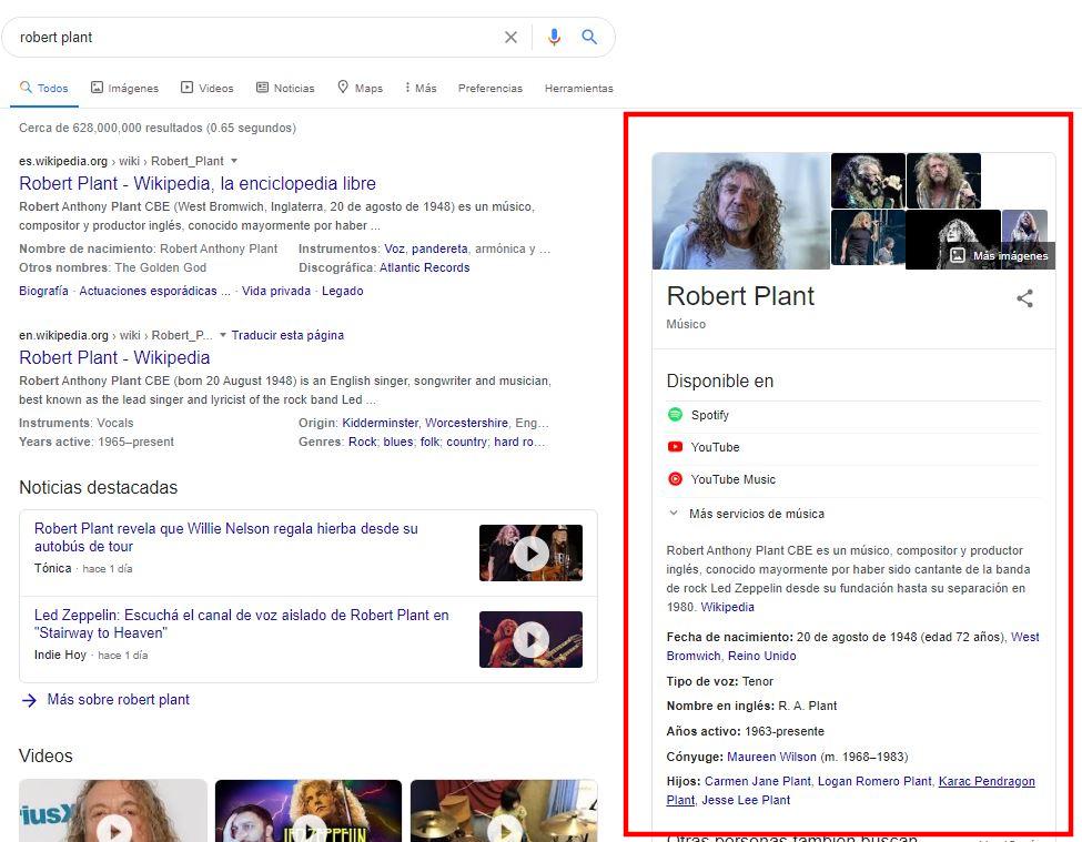 Panel de conocimiento de Google