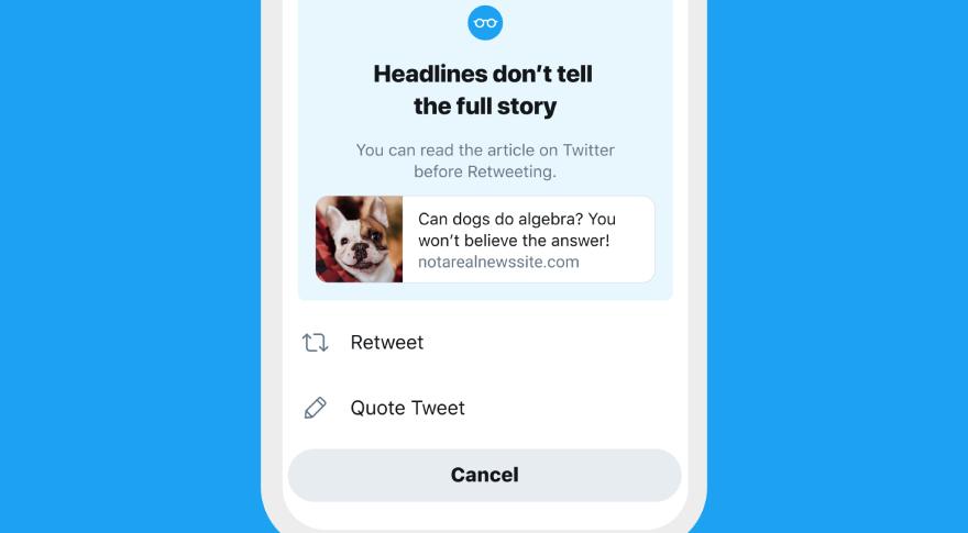Si no leíste el artículo que vas a compartir, Twitter te sugiere leerlo primero
