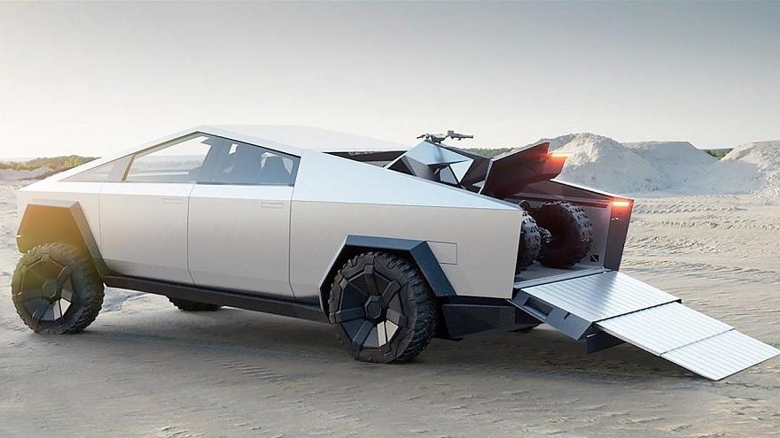 Tesla Cybertruck con su caja de carga a prueba.