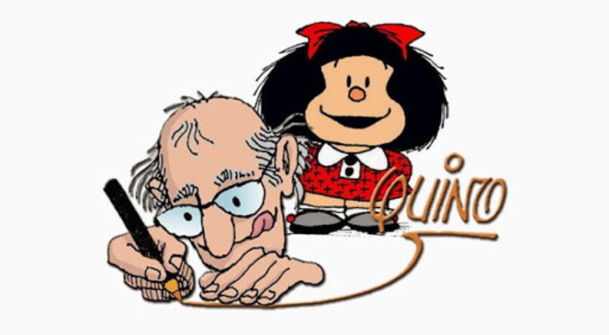 La icónica Mafalda junto a su creador