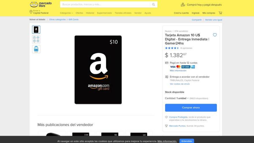 Los usuarios de Mercado Libre venden gift cards de Amazon para gastar en el sitio de Bezos