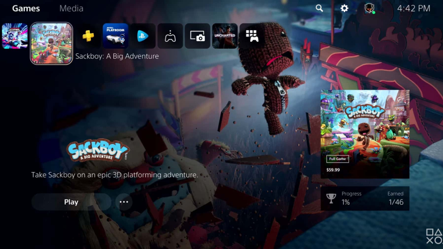 La interfaz tiene un lugar específico para las apps de streaming