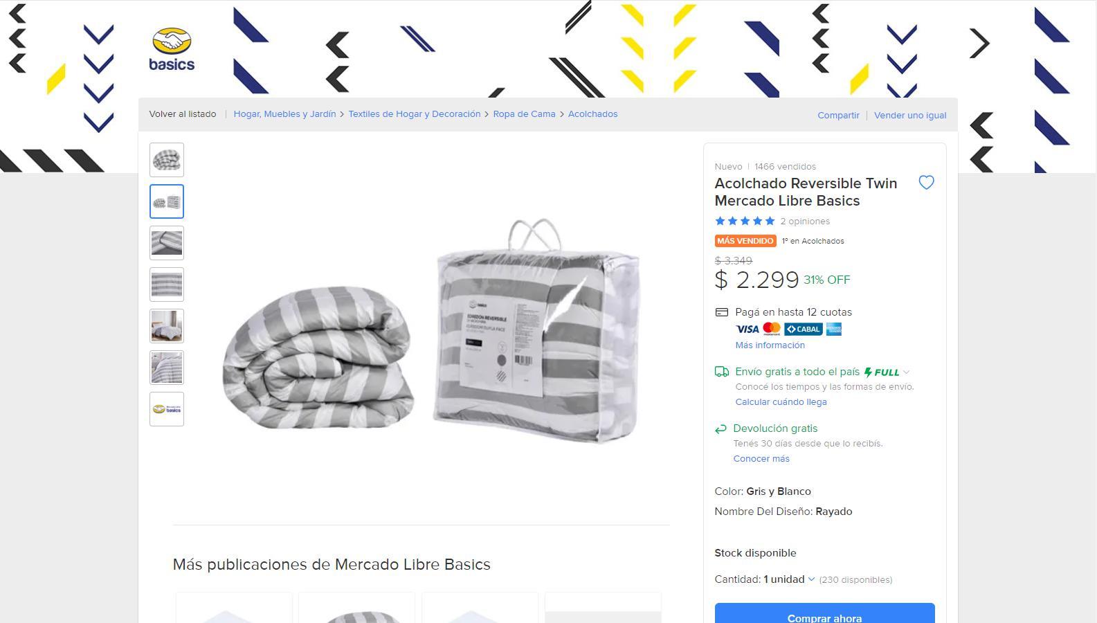 Marca propia. El unicornio vende blanquería con su etiqueta Mercado Libre Basics