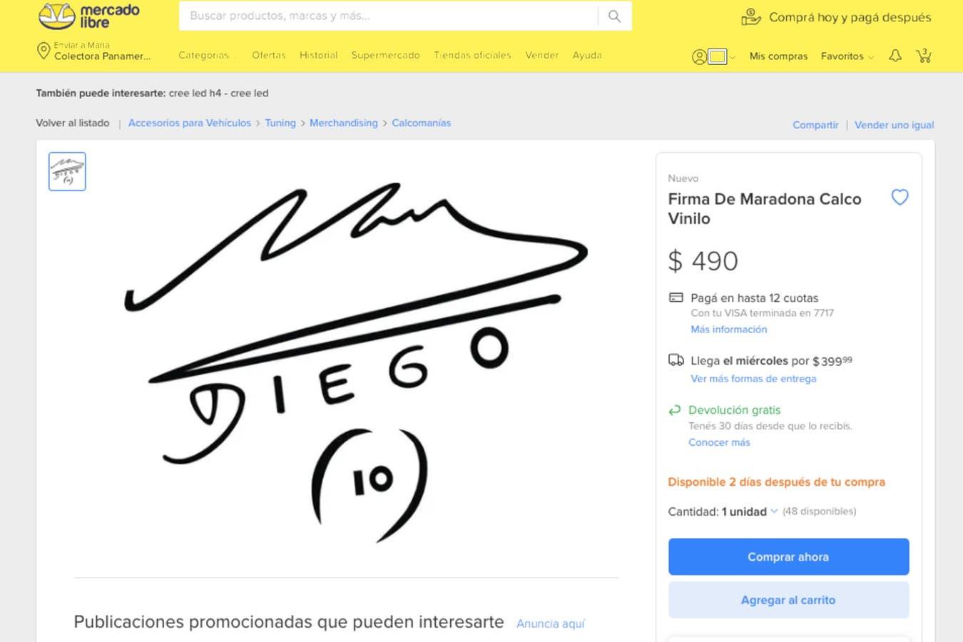 En Mercado Libre se pueden encontrar calcomanías con el autógrafo del 10 a $490