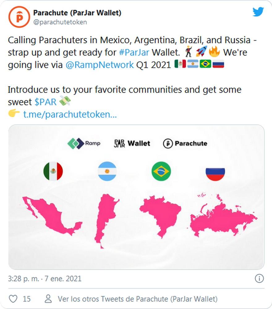 Tuit de Parachute invitando a la gente a sumarse a su billetera digital