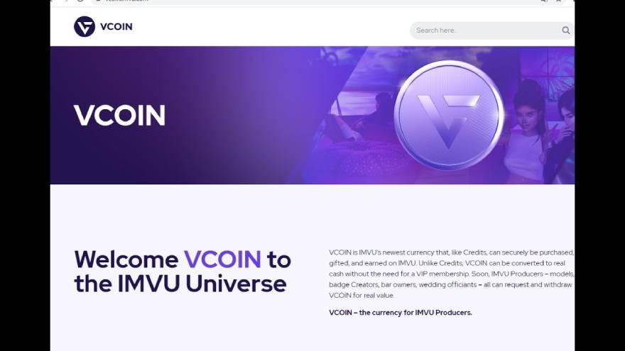 Anuncio de VCOIN en el sitio de IMVU