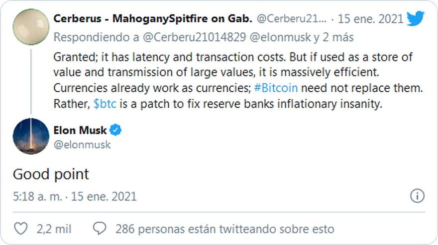 Tuit de Elon Musk sobre Bitcoin. Uno de los tantos que disparó el precio de la criptodivisa