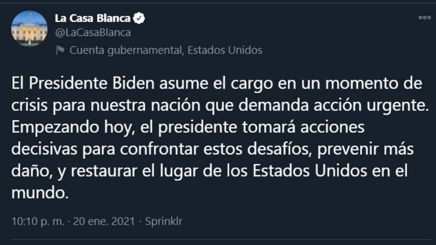 Primer tweet en español de la cuenta de la Casa Blanca
