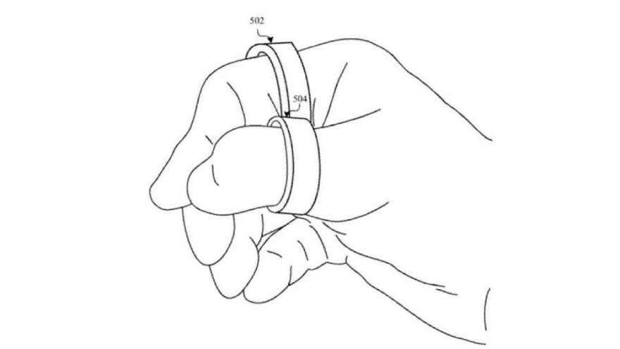 Diagrama de la patente de Apple con los dos anillos con emisores láser (Apple/USPTO)