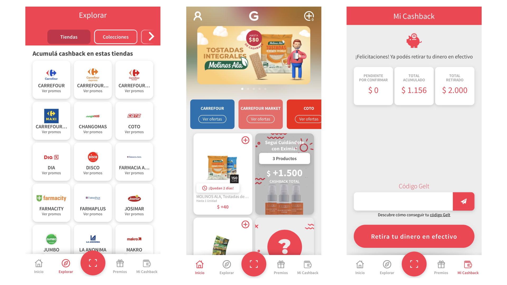 Gelt ofrece reintegros al comprar productos en los principales supermercados