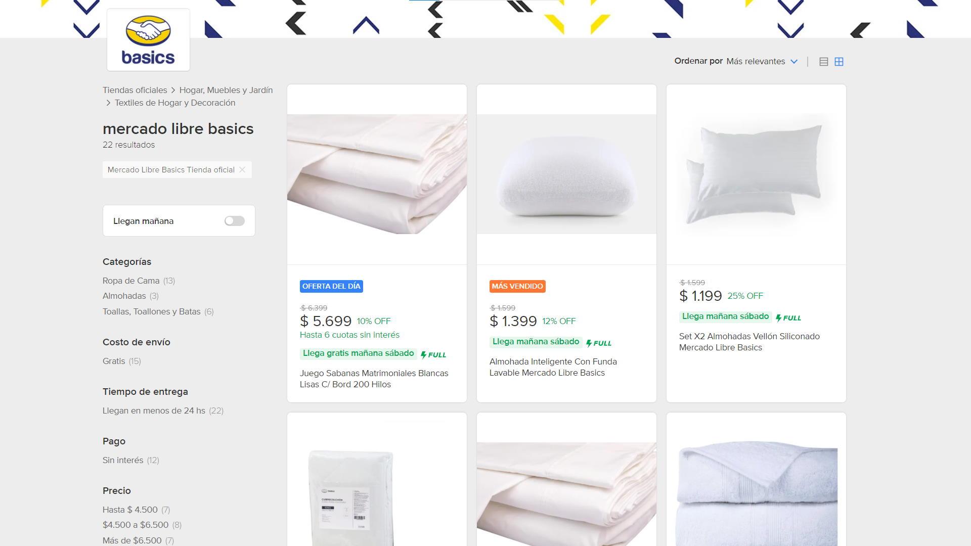Mercado Libre Basics: la marca propia de blanquería del unicornio tiene tienda oficial