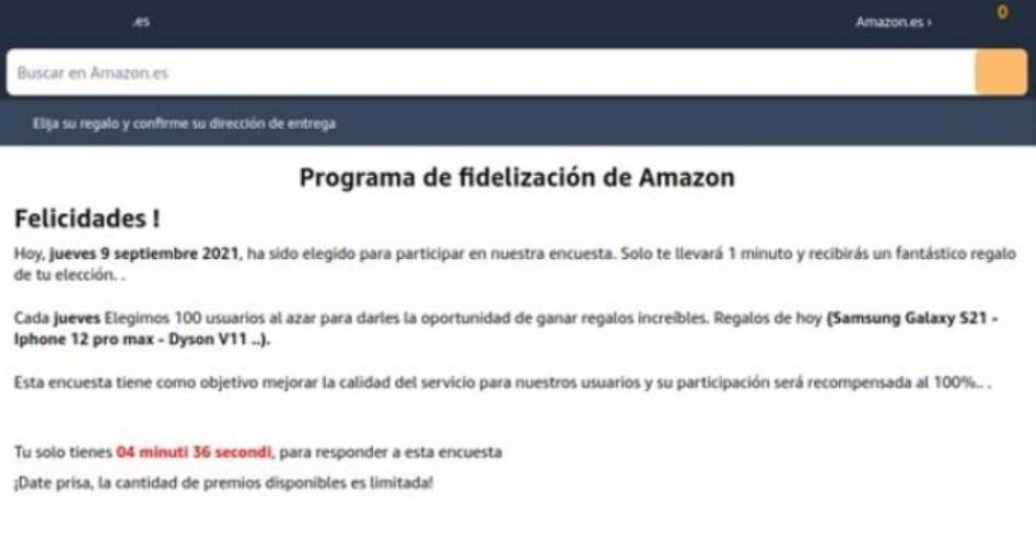 El falso correo de Amazon