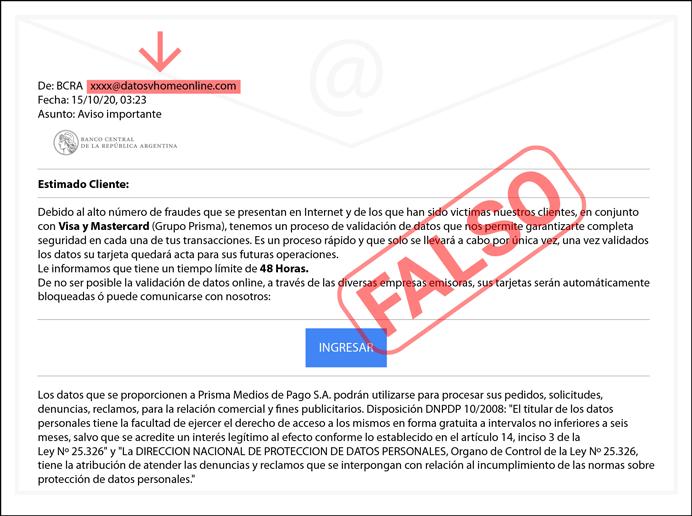 En caso de recibir este correo o uno similar se recomienda eliminarlo inmediatamente ya que es un claro caso de phishing